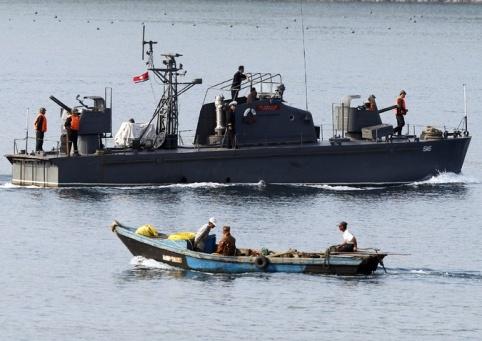 North Korean gunboat with gatling guns